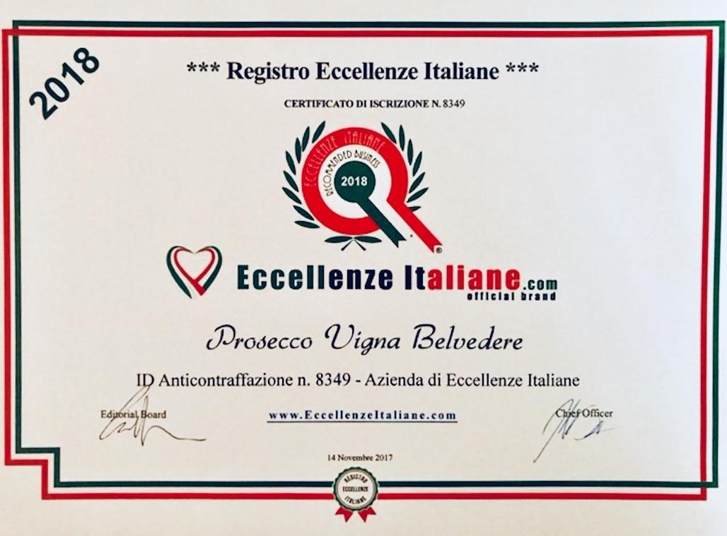 Prosecco Vigna Belvedere Eccellenza Italiana